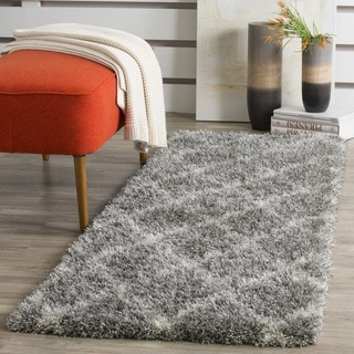 Safavieh Montreal Diamond Shag Grey/ Ivory Runner (2' x 5')