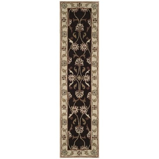 Safavieh Hand-hooked Total Performance Brown / Ivory Acrylic Runner Rug (2' 3 x 9')