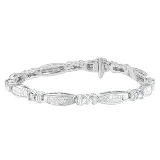 14KT White Gold 2 CTTW Princess and Baguette Cut Diamond Bracelet (H-I ,SI2-I1)