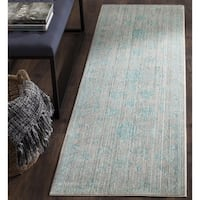 Safavieh Valencia Blue/ Multi Overdyed Distressed Silky Polyester Runner (2' 3 x 8')