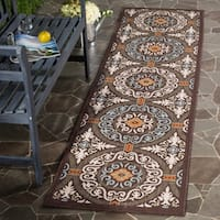 Safavieh Indoor / Outdoor Veranda Chocolate / Aqua Runner Rug - 2'3 x 8'