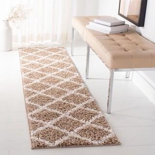 Safavieh Velvet Shag Dark Beige Polyester Runner Rug (2' 3 x 7')