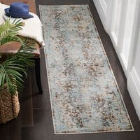 "Safavieh Vintage Persian Brown/ Light Blue Distressed Runner Rug - 2'2"" x 12'"