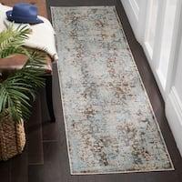 Safavieh Vintage Persian Brown/ Light Blue Distressed Runner Rug - 2' 2 x 12'