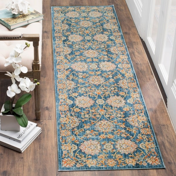 Safavieh Vintage Persian Turquoise/ Multi Distressed Silky Runner Rug - 2' 2 x 12'