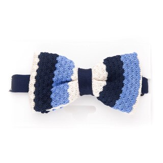 Elie Balleh 2015 Styles EBBT9 Milano Italy Blue Striped Bow Tie