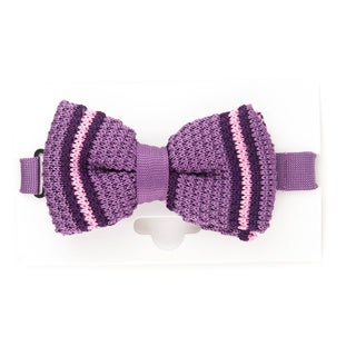 Elie Balleh 2015 Styles EBBT8 Milano Italy Purple Microfiber Striped Bow Tie