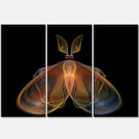 Orange Fractal Butterfly in Dark - Abstract Glossy Metal Wall Art - 36Wx28H
