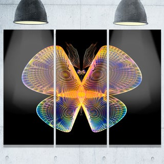Blue Yellow Fractal Butterfly in Dark - Abstract Glossy Metal Wall Art - 36Wx28H