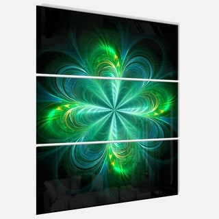 Green Fractal Flower Blooming - Abstract Glossy Metal Wall Art - 36Wx28H