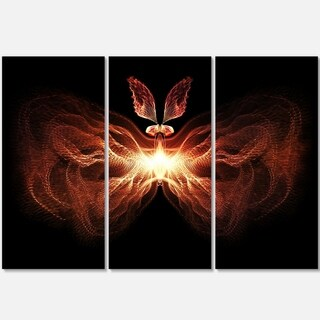 Fire in Middle Fractal Butterfly - Abstract Glossy Metal Wall Art - 36Wx28H