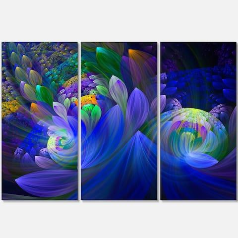 Blue Fractal Flower Bouquet - Abstract Glossy Metal Wall Art - 36Wx28H
