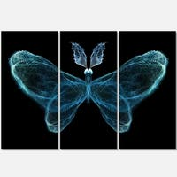 Turquoise Fractal Butterfly in Dark - Abstract Glossy Metal Wall Art - 36Wx28H