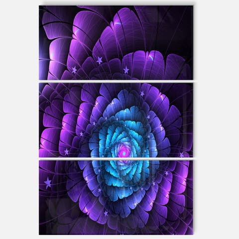 Purple Fractal Flower in Dark - Floral Abstract Glossy Metal Wall Art - 36Wx28H - 28 in. wide x 36 in. high - 3 panels
