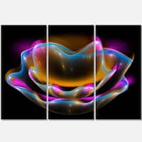 Colorful Fractal Flower in Dark - Floral Abstract Glossy Metal Wall Art - 36Wx28H