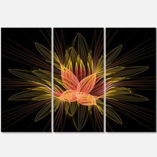 Yellow Red Fractal Flower in Dark - Floral Abstract Glossy Metal Wall Art - 36Wx28H