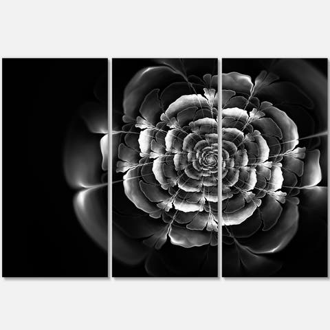 Fractal Silver Rose in Dark - Floral Abstract Glossy Metal Wall Art - 36Wx28H - 36 in. wide x 28 in. high - 3 panels
