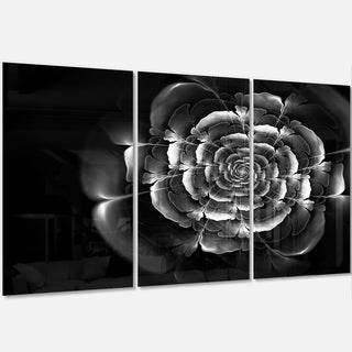 Fractal Silver Rose in Dark - Floral Abstract Glossy Metal Wall Art - 36Wx28H