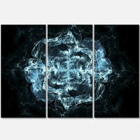 Fractal Blue Flower Explosion - Floral Glossy Metal Wall Art - 36Wx28H - 36 x 28