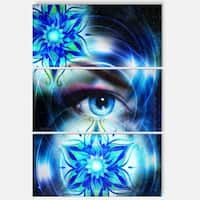 Woman Eye with Fractal Flowers - Floral Glossy Metal Wall Art - 36Wx28H