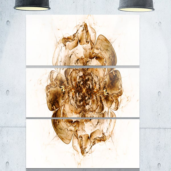 Brown Fractal Flower in White - Floral Glossy Metal Wall Art - 36Wx28H