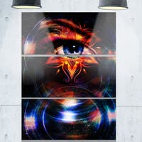 Woman Eye with Fractal Star - Floral Glossy Metal Wall Art - 36Wx28H