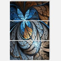 Blue Brown Fractal Flower Pattern - Floral Glossy Metal Wall Art - 36Wx28H - 28 x 36