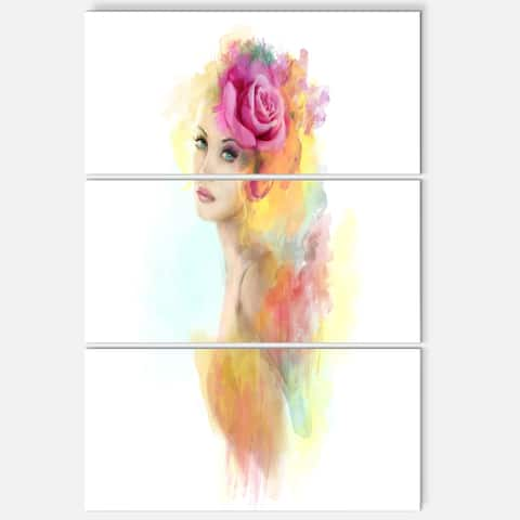 Summer Woman with Flowers - Floral Painting Glossy Metal Wall Art - 36Wx28H - 28 in. wide x 36 in. high - 3 panels