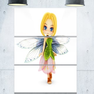 Fairy Woman with Blue Wings - Floral Painting Glossy Metal Wall Art - 36Wx28H