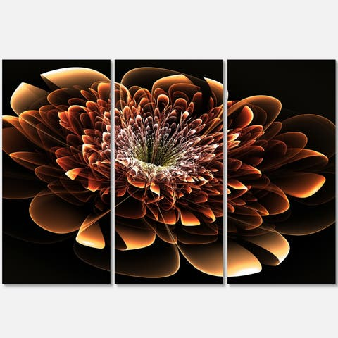 Brown Fractal Flower - Floral Glossy Metal Wall Art - 36Wx28H