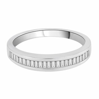 14K White Gold 1/4ct TDW Baguette Diamond Wedding Band