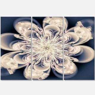 White Fractal Flower - Floral Glossy Metal Wall Art - 36Wx28H