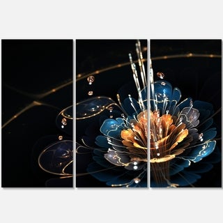 Orange Blue Flower with Water Drops - Floral Glossy Metal Wall Art - 36Wx28H