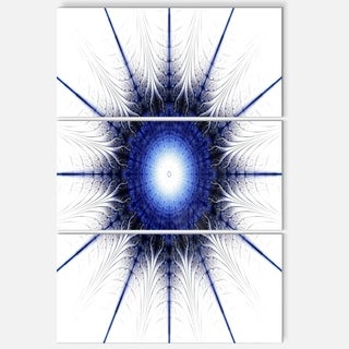 Blue Digital Flower Art - Floral Glossy Metal Wall Art - 36Wx28H