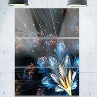 Blue Flower with Golden Details - Floral Glossy Metal Wall Art - 36Wx28H