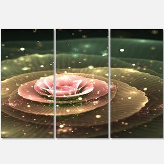 Pink Flower with Water Droplets - Floral Glossy Metal Wall Art - 36Wx28H