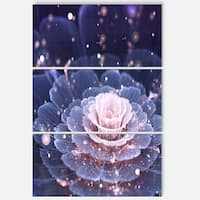 Fractal Flower Pink and Gray - Floral Glossy Metal Wall Art - 36Wx28H