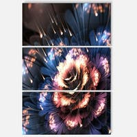 Fractal Flower Orange and Blue - Floral Glossy Metal Wall Art - 36Wx28H