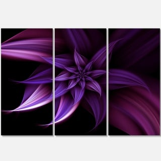Fractal Flower Purple - Floral Glossy Metal Wall Art - 36Wx28H
