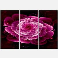 Fractal Flower Dark Pink - Floral Glossy Metal Wall Art - 36Wx28H