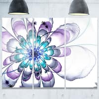 Fractal Flower Light Blue - Floral Glossy Metal Wall Art - 36Wx28H
