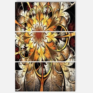 Fractal Flower Dark Yellow - Floral Glossy Metal Wall Art - 36Wx28H