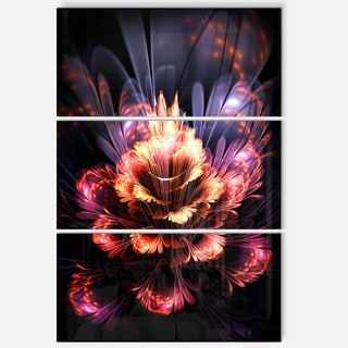 Fractal Flower Orange and Purple - Floral Glossy Metal Wall Art - 36Wx28H