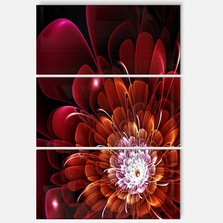 Fractal Red and Yellow Flower - Floral Glossy Metal Wall Art - 36Wx28H