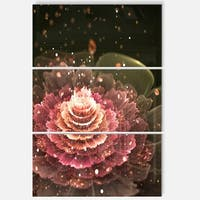 Fractal Abstract Pink Flower - Floral Glossy Metal Wall Art - 36Wx28H