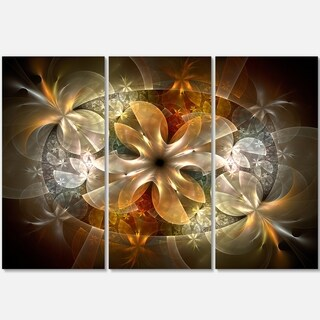 Fractal Flower with Blue Details - Floral Glossy Metal Wall Art - 36Wx28H