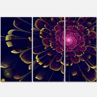 Fractal Flower with Yellow Details - Floral Glossy Metal Wall Art - 36Wx28H