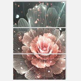 Abstract Fractal Pink Gray Flower - Floral Glossy Metal Wall Art - 36Wx28H