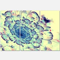 Blue Fractal Flower with Red Details - Glossy Metal Wall Art - 36Wx28H