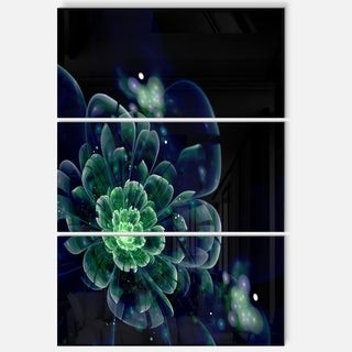 Green Abstract Fractal Flower - Floral Glossy Metal Wall Art - 36Wx28H